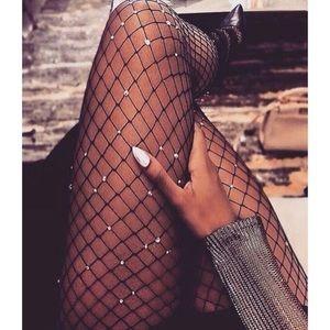 Rhinestone fishnet stockings